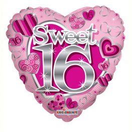 "18"" Sweet 16th Birthday Pink Foil Balloons"