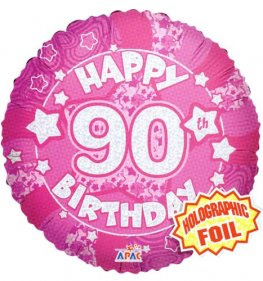"18"" 90th Birthday Pink Holographic Balloons"