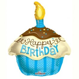 "18"" Happy Birthday Blue Cupcake Foil Balloons"