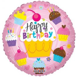 "18"" Happy Birthday Cupcake Foil Balloons"