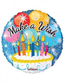 "18"" Make A Wish Cake Foil Balloons"