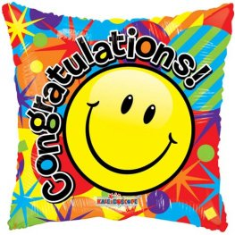 "18"" Smiley Congratulations Foil Balloons"
