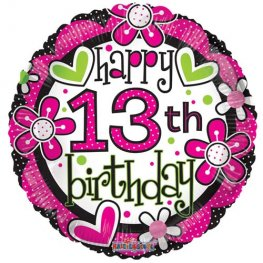 "18"" Happy 13th Birthday Girl Foil Balloons"
