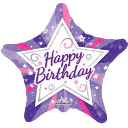 "18"" Happy Birthday Purple Star Foil Balloons"