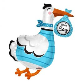 Baby Boy Stork Supershape Foil Balloons