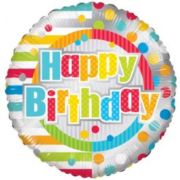 "18"" Happy Birthday Dots And Stripes Foil balloons"