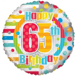 "18"" Happy 65th Birthday Dots And Stripes Foil balloons"