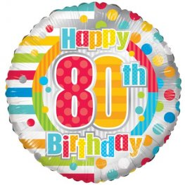 "18"" Happy 80th Birthday Dots And Stripes Foil Balloons"