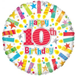 "18"" Happy 10th Birthday Candles Foil Balloons"