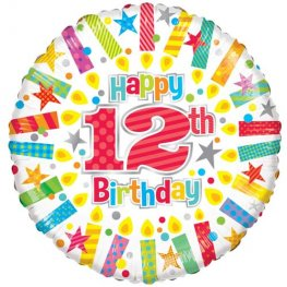 "18"" Happy 12th Birthday Candles Foil Balloons"