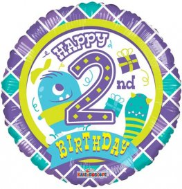 "18"" Happy 2nd Birthday Monster Foil Balloons"
