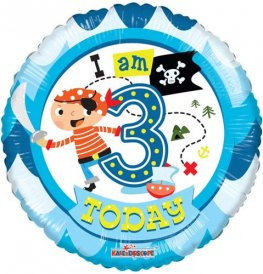 "18"" I Am 3 Today Pirate Foil Balloons"