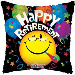 "18"" Happy Retirement Smiley Foil Balloons"