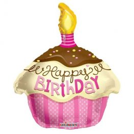 "18"" Happy Birthday Pink Cupcake Foil Balloons"