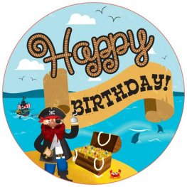Happy Birthday Pirate Giant Party Badge