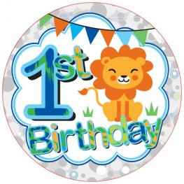 1st Birthday Lion Boy Big Badge