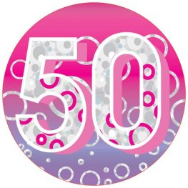 Age 50 Pink Giant Party Badge