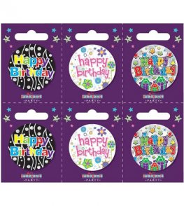 Happy Birthday Assorted Small Badges x6