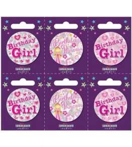 Birthday Girl Assorted Small Badges x6