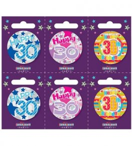 Age 30 Assorted Small Badges x6