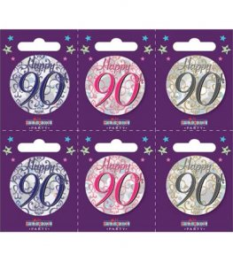 Age 90 Assorted Small Badges x6