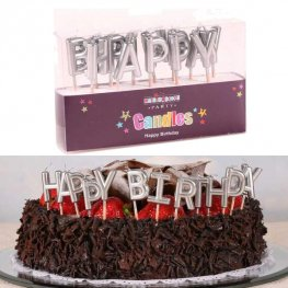 Happy Birthday Metallic Silver Letter Candles