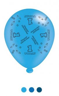 "10"" Age 1 Blue Latex Balloons 6 Packs Of 8"