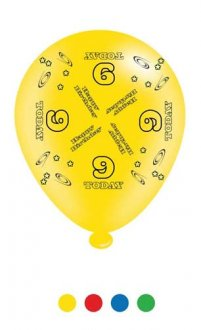 "10"" Age 9 Assorted Latex Balloons 6 Packs Of 8"