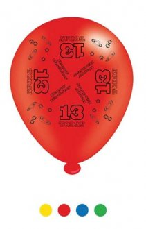 "10"" Age 13 Assorted Latex Balloons 6 Packs Of 8"