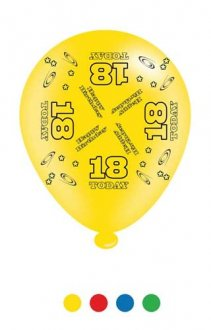"10"" Age 18 Assorted Latex Balloons 6 Packs Of 8"