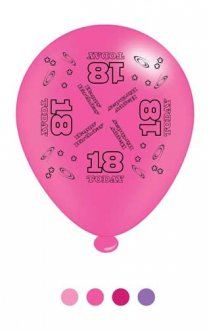 "10"" Age 18 Pink Latex Balloons 6 Packs Of 8"
