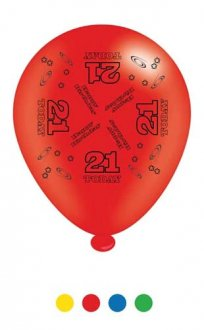 "10"" Age 21 Assorted Latex Balloons 6 Packs Of 8"
