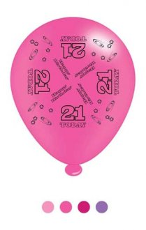 "10"" Age 21 Pink Latex Balloons 6 Packs Of 8"