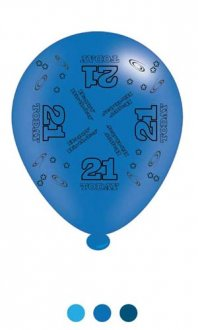 "10"" Age 21 Blue Latex Balloons 6 Packs Of 8"