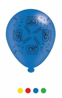 "10"" Age 65 Assorted Latex Balloons 6 Packs Of 8"