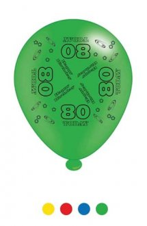 "10"" Age 80 Assorted Latex Balloons 6 Packs Of 8"