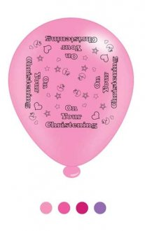 "10"" Christening Girl Assorted Latex Balloons 6 Packs Of 8"