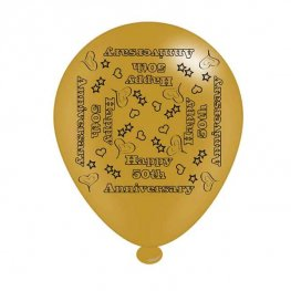 "10"" 50th Anniversary Latex Balloons 6 Packs Of 8"
