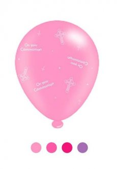 "10"" 1st Communion Pink Mix Latex Balloons 6 Packs Of 8"
