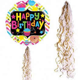 Metallic Gold & White Balloon Tails