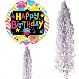 Metallic Silver & White Balloon Tails
