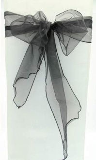 Black Organza Chair Sash x5