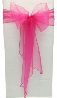 Hot Pink Organza Chair Sash x5
