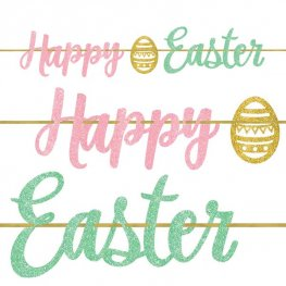 Happy Easter Glitter Ribbon Banner