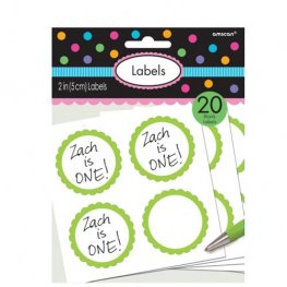 Kiwi Green Scalloped Labels