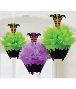 Witches Crew Fluffy Paper Decorations 3pk