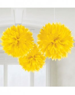 Yellow Fluffy Paper Decorations 3pk