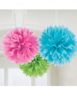 Multi Fluffy Paper Decorations 3pk
