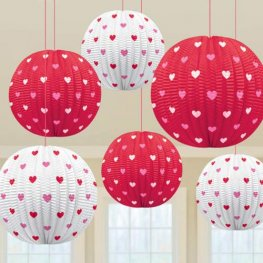 Valentine Printed Mini Lanterns 5pk