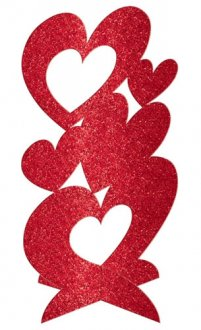 Red Glitter Heart Centerpiece